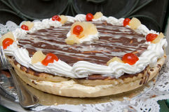 Sweet cherry cake. Picture of a sweet cherry cake with crem and fruits Stock Photography
