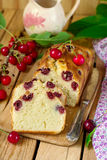 Sweet cherry cake with fresh cherries. For dessert Stock Photography