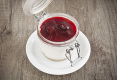 Sweet cherry cheesecake in a  jar Royalty Free Stock Image