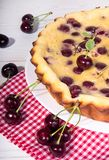Sweet cherry clafouti on red and white checkered fabric over on white background royalty free stock photos