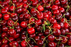 Sweet cherry fruit in a pile close take royalty free stock images