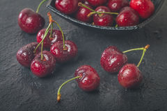 Sweet cherry fruit with water drops Royalty Free Stock Photography