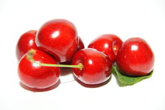 Sweet cherry fruits isolated on white Royalty Free Stock Photography
