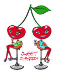 Sweet cherry girls. Stock Photos
