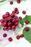 Sweet cherry in glass bowl Royalty Free Stock Photo