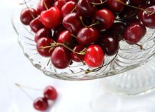 Sweet cherry in glass-ware Royalty Free Stock Photos