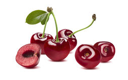 Sweet cherry horizontal composition 2  on white backgrou Royalty Free Stock Photography