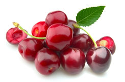 Sweet cherry with a leaf royalty free stock photo