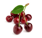Sweet cherry with leaf Stock Photo