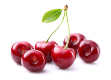 Sweet cherry with leaf Stock Images