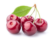 Sweet cherry with leaf Royalty Free Stock Images
