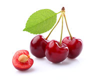 Sweet cherry with leaf Stock Image