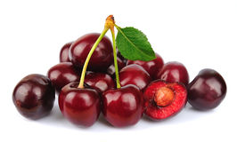 Sweet cherry with leafs Royalty Free Stock Images