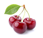 Sweet cherry with leaves. On a white background stock images