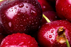 Sweet cherry macro background Stock Photos