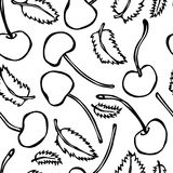 Sweet Cherry and Mint Leaves Seamless. Doodle Style Vector Design, Isolated on White Background. Stock Photos