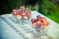 Sweet cherry, peaches and grapes Royalty Free Stock Image