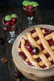 Sweet cherry pie Stock Photos