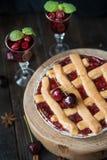 Sweet cherry pie Stock Photos