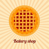 Sweet cherry pie on sunburst background. Vector Royalty Free Stock Image