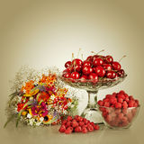 Sweet cherry and raspberry Stock Photo