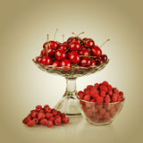 Sweet cherry and raspberry Stock Photos