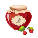 Sweet Cherry Red Jam Glass Jar Filled With Berry With Template Label Illustration. Cute Colorful Sweet Natural Jelly Related Vector Sticker Isolated On White Stock Photos