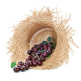 Sweet cherry in straw hat isolated on white background. Royalty Free Stock Photos