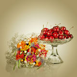 Sweet cherry in vase Royalty Free Stock Images