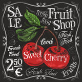 Sweet Cherry Vector Logo Design Template. Fresh Royalty Free Stock Image
