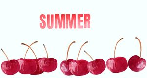 Sweet cherry on a white background with the inscription summer.and decoration vector illustration