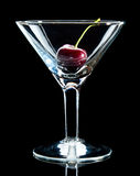 Sweet cherry in wine glass Stock Photos