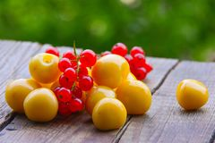 Sweet cherry on wood table Stock Photography