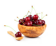 Sweet cherry in a wooden bowl Stock Photography