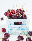 Sweet cherry in wooden box Royalty Free Stock Image