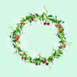 Sweet cherry wreath cute illustration Stock Images