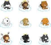 Sweet cherub animals angel cartoon set Royalty Free Stock Photo