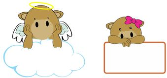 Sweet cherub camel girl and boy angel cartoon set Royalty Free Stock Photos
