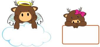 Sweet cherub deer girl and boy angel cartoon set Stock Photo