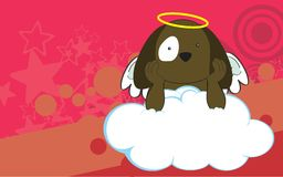 Sweet cherub dog cartoon background Royalty Free Stock Image