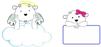 Sweet cherub goat girl and boy angel cartoon set Royalty Free Stock Images