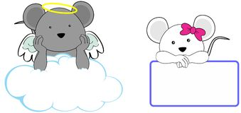 Sweet cherub mouse girl and boy angel cartoon set Royalty Free Stock Images