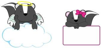 Sweet cherub skunk girl and boy angel cartoon set Stock Image