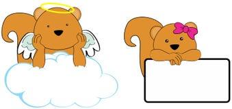 Sweet cherub squirrel girl and boy angel cartoon set Stock Photography