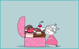 Sweet chest. Vector illustration of girl looking inside chest filled with sweets Royalty Free Stock Photos
