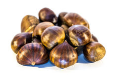 Sweet chestnuts isolated Stock Photos