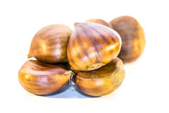 Sweet chestnuts isolated Royalty Free Stock Images