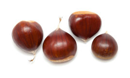 Sweet chestnuts isolated on white Stock Photo