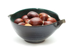 Sweet chestnuts isolated on white Royalty Free Stock Photo