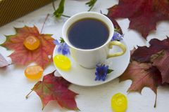 Sweet chicory drink in a cup, with sweets Royalty Free Stock Photos